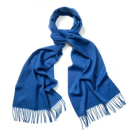 Plain Ripple Cashmere Scarf in Soft Sapphire