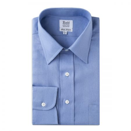 Classic Fit Formal Linen Shirt in Frejus Blue
