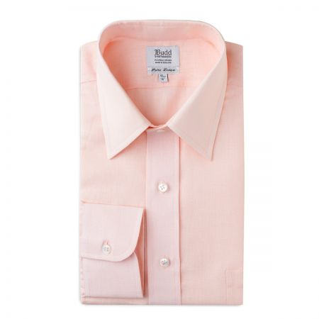 Classic Fit Plain Linen Button Cuff Shirt in Pink Tint