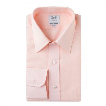 Classic Fit Plain Linen Button Cuff Shirt in Pink Tint