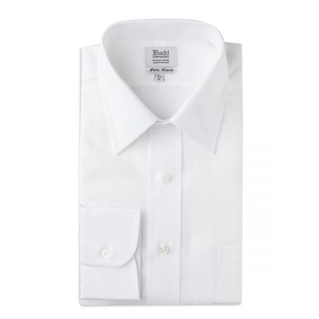 Classic Fit Plain Linen Button Cuff in White