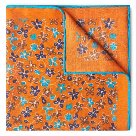 Daisies Wool and Silk Pocket Square in Orange