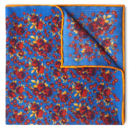 Roses Wool and Silk Pocket Square in Blue