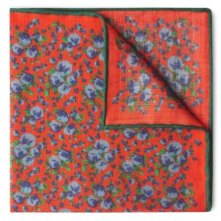 Roses Wool and Silk Pocket Square in Red