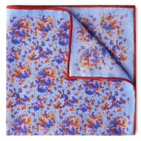 Roses Wool and Silk Pocket Square in Sky Blue