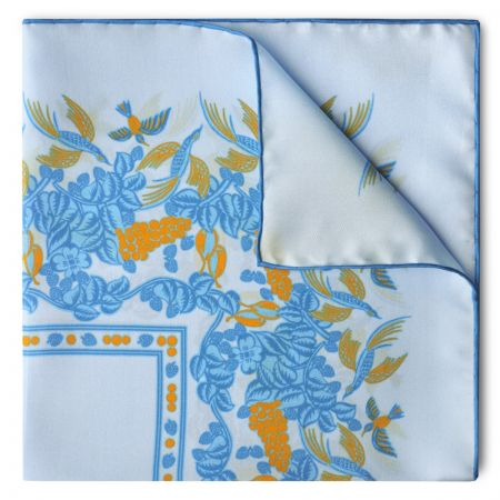 Florals and Hummingbirds Silk Pocket Square in Sky Blue