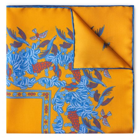 Florals and Hummingbirds Silk Pocket Square in Yellow