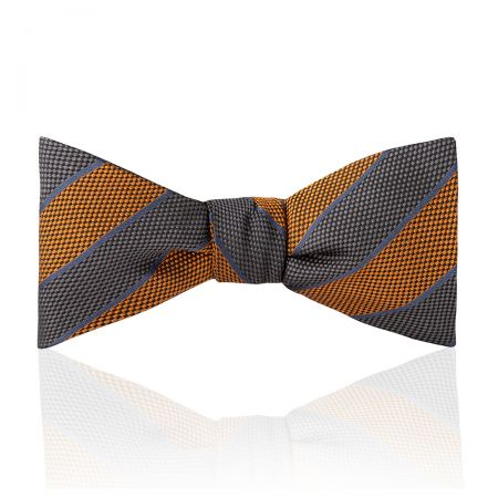 Broad Stripe Jacquard Silk Thistle Bow Tie in Ochre and Grey Tied