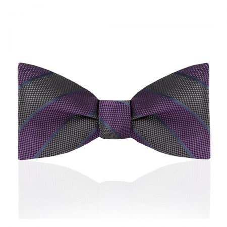 Broad Stripe Jacquard Silk Thistle Bow Tie in Purple and Grey Tied