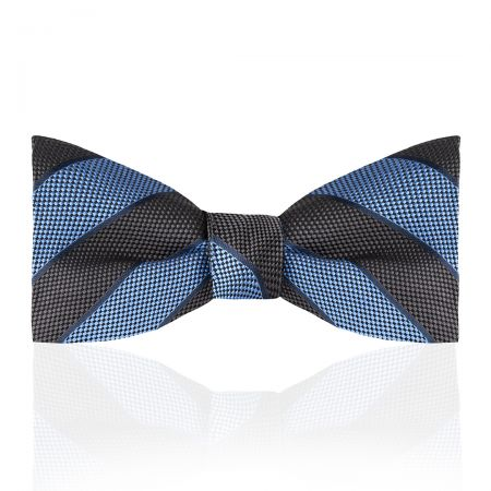 Broad Stripe Jacquard Silk Thistle Bow Tie in Sky and Grey Tied