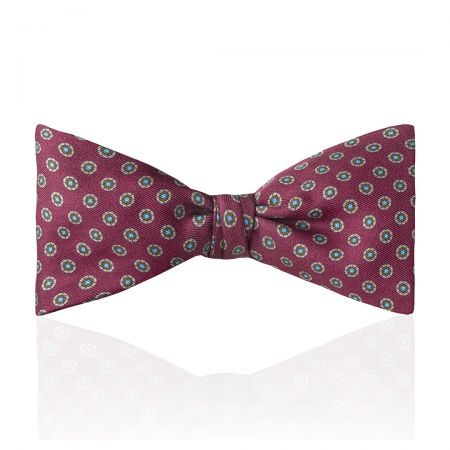 Motif Foulard Silk Thistle Bow Tie in Burgundy Tied