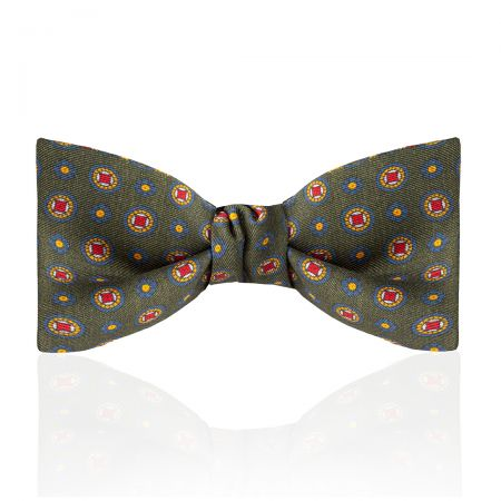 Motif Foulard Silk Thistle Bow Tie in Moss, Navy, Red and Orange Tied