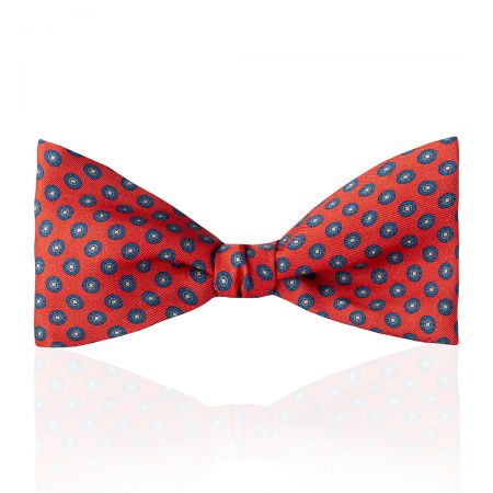 Motif Foulard Silk Thistle Bow Tie in Red Tied
