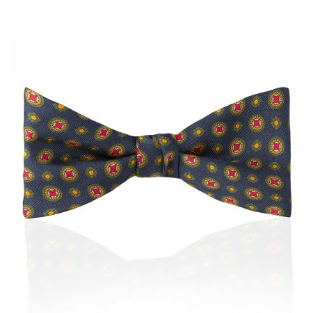 Motif Foulard Silk Thistle Bow Tie in Navy, Red, Yellow and Green Tied