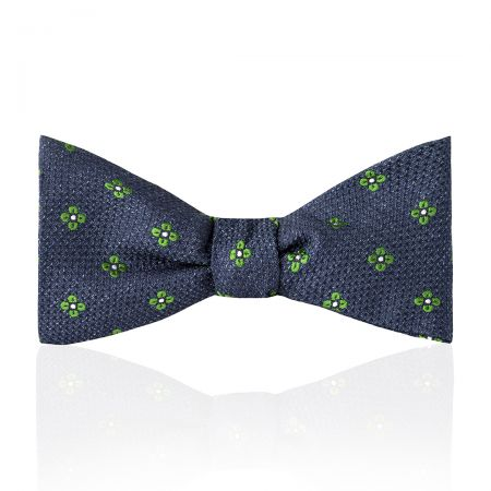 Daisy Tussah Silk Thistle Bow Tie in Green Tied