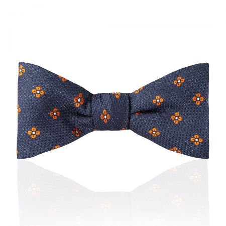 Daisy Tussah Silk Thistle Bow Tie in Orange Tied