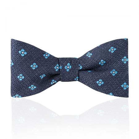 Daisy Tussah Silk Thistle Bow Tie in Sky Blue Tied