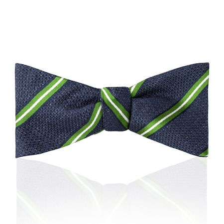 Multi-Stripe Tussah Silk Thistle Bow Tie in Green and White Tied