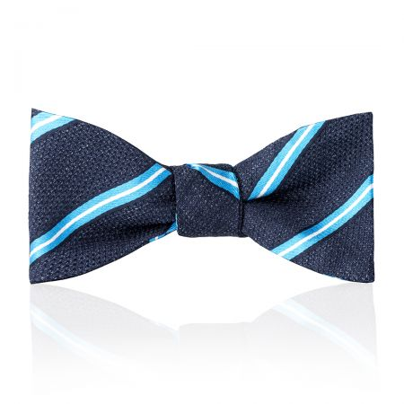 Multi-Stripe Tussah Silk Thistle Bow Tie in Sky and White Tied