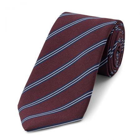 Stripe Irish Poplin Tie in Navy, Brown, Blue and Burgundy