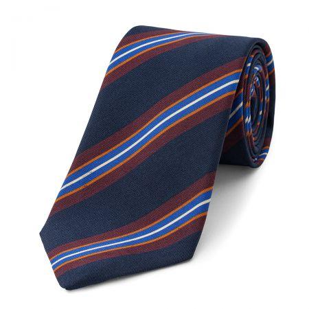 Stripe Irish Poplin Tie in Navy, Burgundy, Orange and Blue