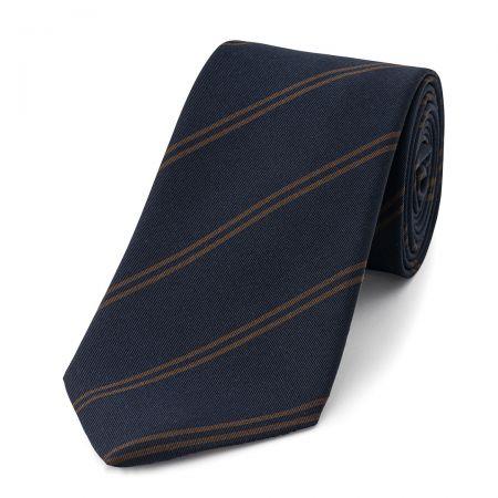 Stripe Irish Poplin Tie in Navy and Brown