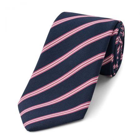 Stripe Irish Poplin Tie in Navy, Pink and White