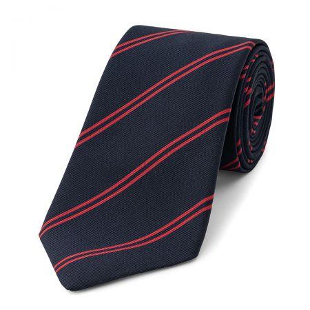 Stripe Irish Poplin Tie in Navy and Red