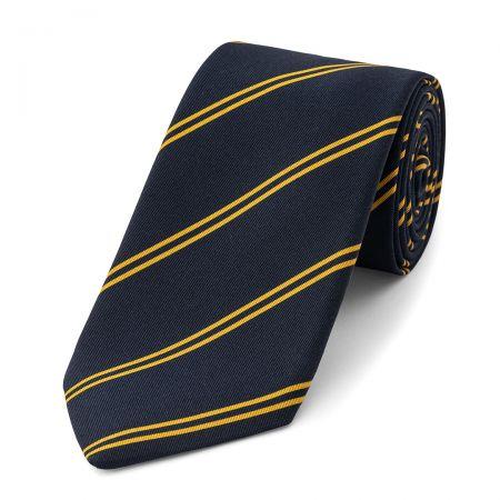 Stripe Irish Poplin Tie in Navy and Yellow