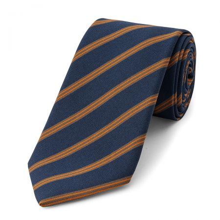 Stripe Irish Poplin Tie in Slate, Grey, Orange and Brown