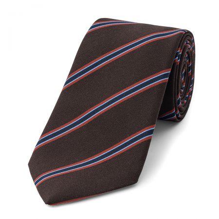 Stripe Irish Poplin Tie in Brown, Rust, Sky and Navy
