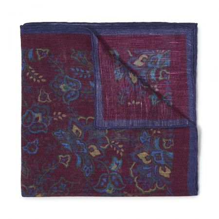 Gypsy Florals Silk Pocket Square in Burgundy and Blue