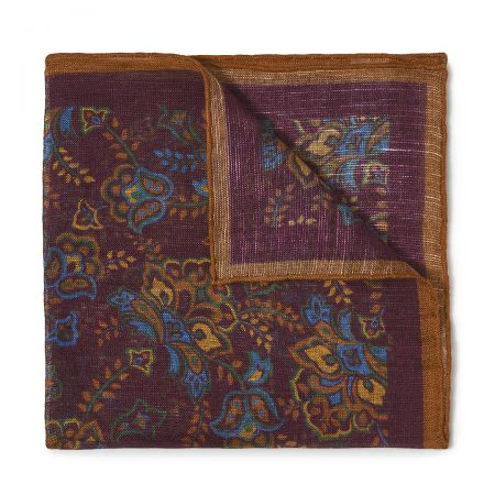 Gypsy Florals Silk Pocket Square in Burgundy and Brown