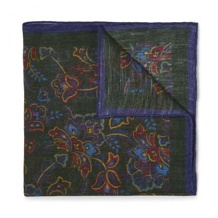 Gypsy Florals Silk Pocket Square in Green and Royal