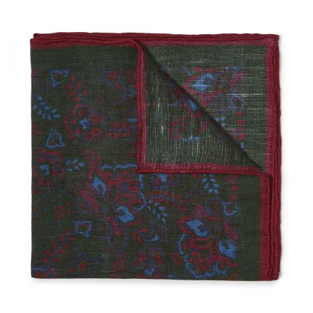 Gypsy Florals Silk Pocket Square in Green and Burgundy