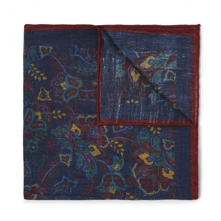 Gypsy Florals Silk Pocket Square in Navy and Burgundy