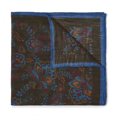 Gypsy Florals Silk Pocket Square in Green and Blue
