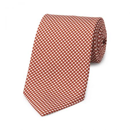 Checkerboard Hopsack Tie in Copper and Fawn
