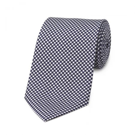 Checkerboard Hopsack Tie in Navy and Fawn