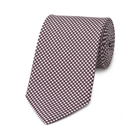 Checkerboard Hopsack Tie in Plum and Fawn
