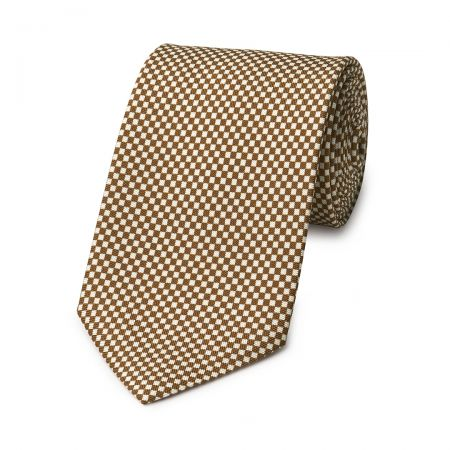 Checkerboard Hopsack Tie in Brown and Fawn
