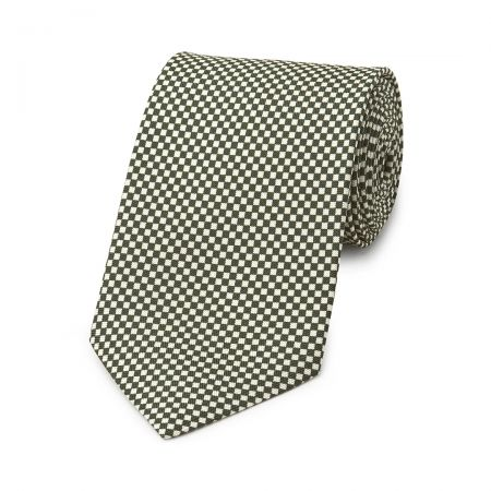 Checkerboard Hopsack Tie in Bottle Green and Fawn