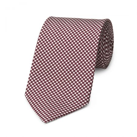 Checkerboard Hopsack Tie in Wine and Fawn