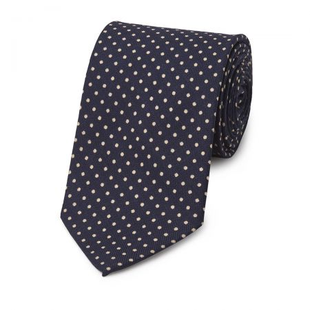 Polka Dot Wool Tie in Navy and Cream