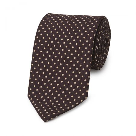 Polka Dot Wool Tie in Plum and Cream