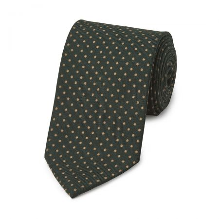 Polka Dot Wool Tie in Bottle Green and Fawn