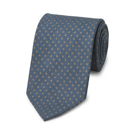 Polka Dot Wool Tie in Blue and Fawn