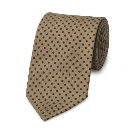 Polka Dot Wool Tie in Fawn and Brown
