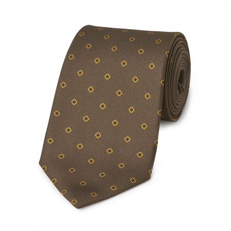 Square with Inner Dot 50oz Silk Tie in Brown