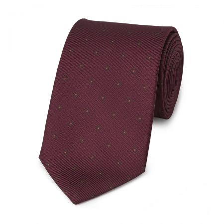 Square with Inner Dot 50oz Silk Tie in Burgundy